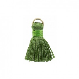 Two-colored 20mm pompom with ring - bottle green