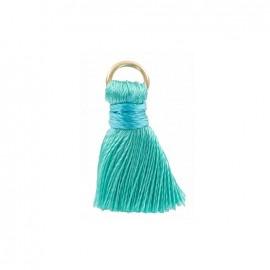Pompon bicolore 20mm avec anneau - vert tiffany