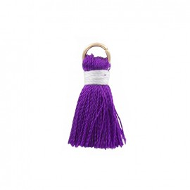 Two-colored 20mm pompom with ring - purple/lavender
