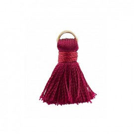 Two-colored 20mm pompom with ring - dark red
