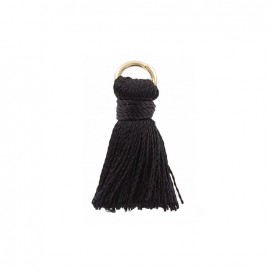 Two-colored 20mm pompom with ring - black
