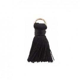 Pompon bicolore 20mm avec anneau - noir