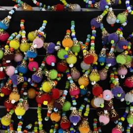 Ruban galon pompon perle Gandhali - multi x 50cm