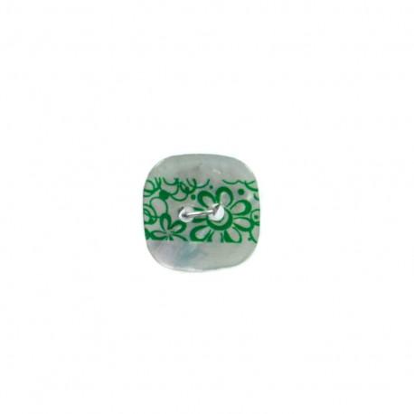 Bouton coco nacré Frise florale - vert