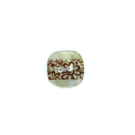 Bouton coco nacré Frise florale - marron
