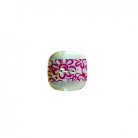 Bouton coco nacré Frise florale - rose