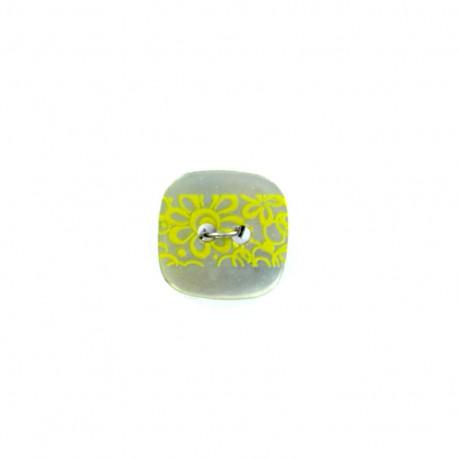 Bouton coco nacré Frise florale - jaune