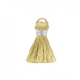 Two-colored 20mm pompom with ring - gold/silver