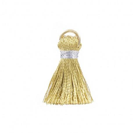 Pompon bicolore 20mm avec anneau - or/argent