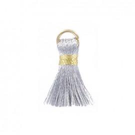 Pompon bicolore 20mm avec anneau - argent/or