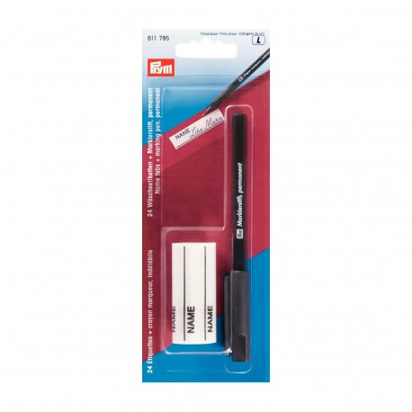 24 name tabs with marking permanent pen Prym - black