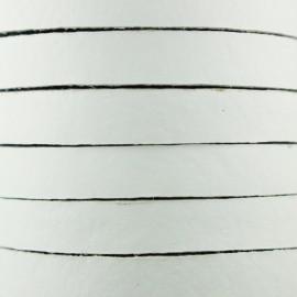 Lacet plat en cuir  5 mm - Blanc