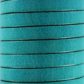 5 mm Flat Leather Strip - Celeste blue
