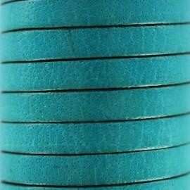 Cordon Lacet plat en cuir  5 mm - Bleu céleste x1m