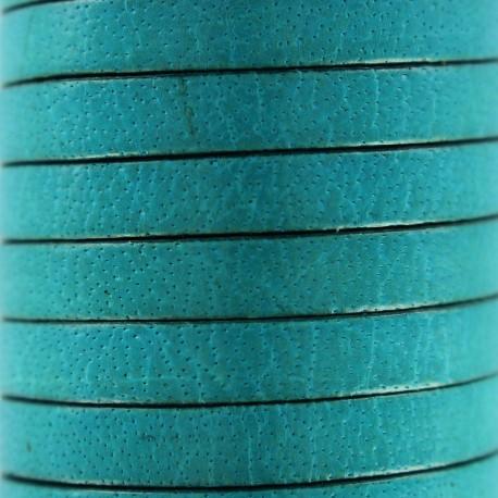 Lacet plat en cuir  5 mm - Bleu célestre