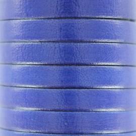Cordon Lacet plat en cuir  5 mm - Bleu smalt x1m