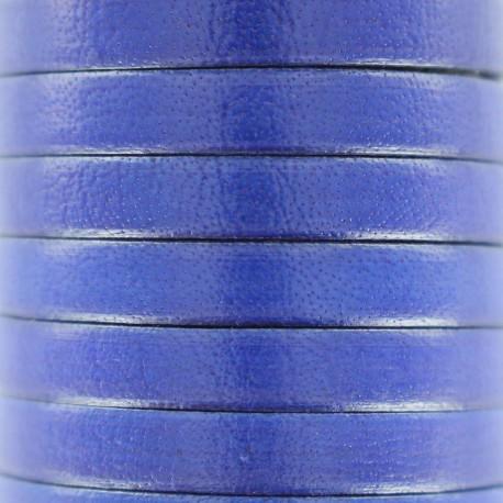 Lacet plat en cuir  5 mm - Bleu smalt
