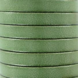 Cordon Lacet plat en cuir  5 mm - Kaki x1m