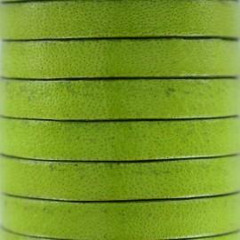 Cordon Lacet plat en cuir  5 mm - Olive x1m