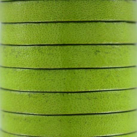 Lacet plat en cuir  5 mm - Olive