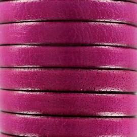 Cordon Lacet plat en cuir  5 mm - Prune x1m