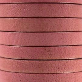 Cordon Lacet plat en cuir  5 mm - Rose Incarnadin x1m