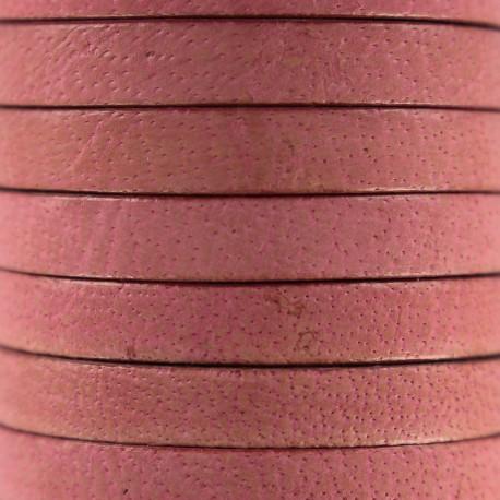 Lacet plat en cuir  5 mm - Rose Incarnadin