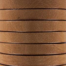 Cordon Lacet plat en cuir  5 mm - Marron clair x1m