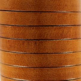 Cordon Lacet plat en cuir  5 mm - Marron foncé x1m