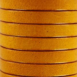 Cordon Lacet plat en cuir  5 mm - Jaune x 1m