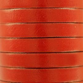 Lacet plat en cuir  5 mm - Orange