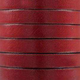 Lacet plat en cuir  5 mm - Rouge