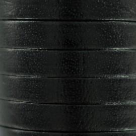 Cordon lacet plat en cuir  5 mm - Noir x1m
