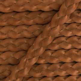 Lacet tressé plat en cuir  5 mm - Terracotta x 50cm