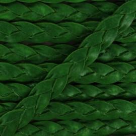 Lacet tressé plat en cuir  5 mm - Vert avocat x 50cm
