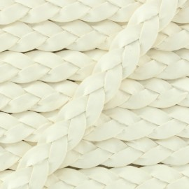 5 mm Flat Braded Leather Strip - White x 50cm