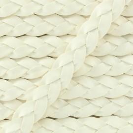 Lacet tressé plat en cuir  5 mm - Blanc x 50cm