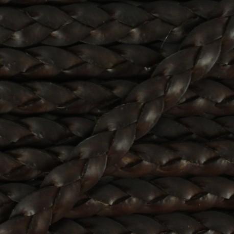 5 mm Flat Braded Leather Strip - Dark Brown x 50cm