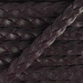 5 mm Flat Braded Leather Strip - Purple x 50cm