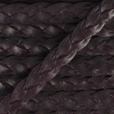 Lacet tressé plat en cuir  5 mm - Violet aubergine x 50cm