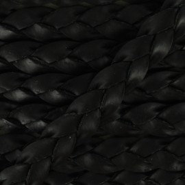 5 mm Flat Braded Leather Strip - Black x 50cm