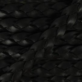 Lacet tressé plat en cuir  5 mm - Noir x 50cm