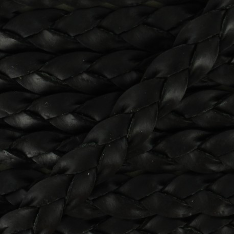 5 mm Flat Braded Leather Strip - Black x 50cm