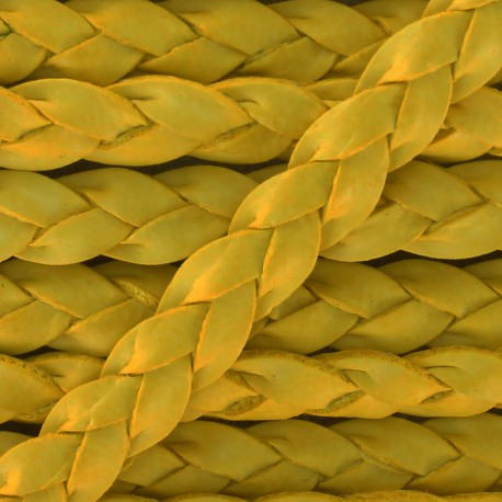5 mm Flat Braded Leather Strip - Yellow x 50cm
