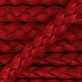 5 mm Flat Braded Leather Strip - Red x 50cm