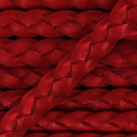 Lacet tressé plat en cuir  5 mm - Rouge x 50cm