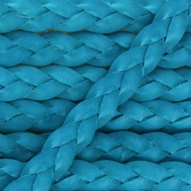 5 mm Flat Braded Leather Strip - Celeste Blue x 50cm