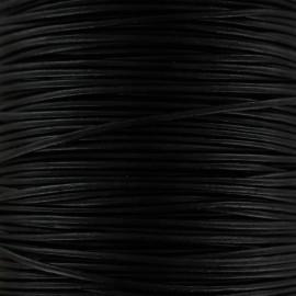 Lacet rond en cuir 1 mm - Noir