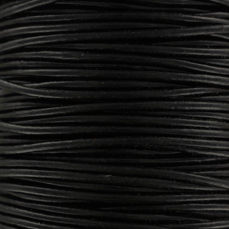 Lacet rond en cuir 2 mm - Noir