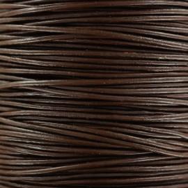 Lacet rond en cuir 2 mm - Marron foncé